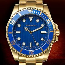 NEW Rousseau 62623528 Cantoni Mens All Gold Tone Band W/ Blue Dial & Bezel Watch