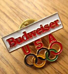 Vintage-80s-Olympic-Games-Anheiser-Busch-BUDWEISER-Sponsor-1-034-lapel-hat-Pin