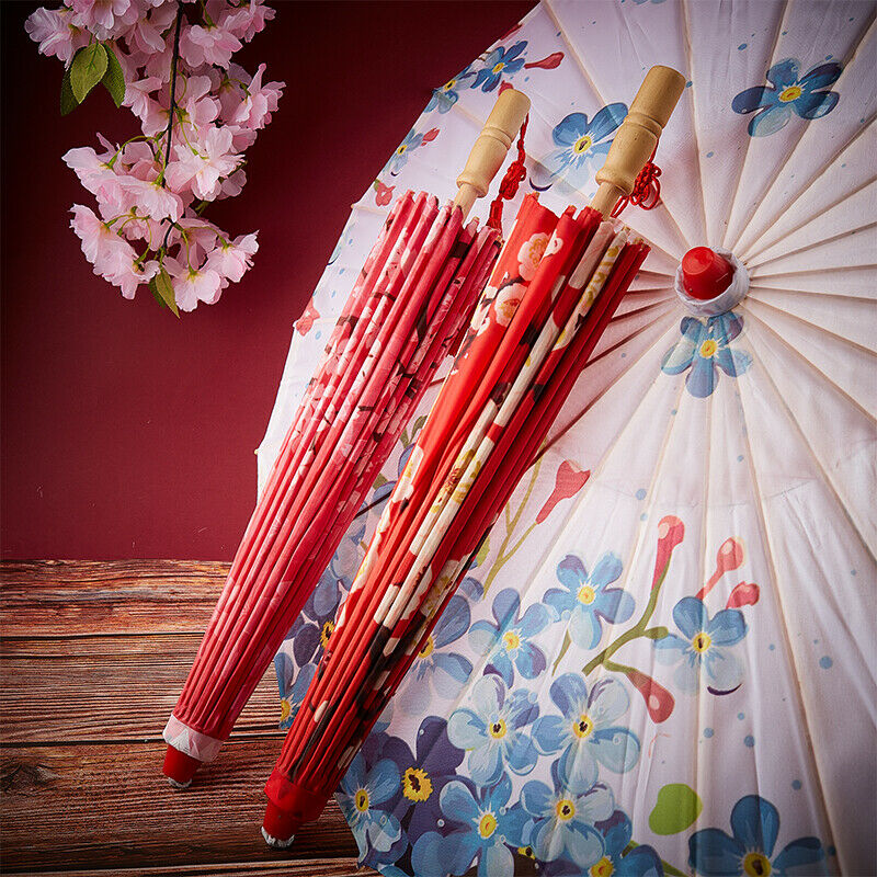 Silk Cloth Women Chinese Style Umbrella Cherry Blossoms Ancient Dance Umbre *H
