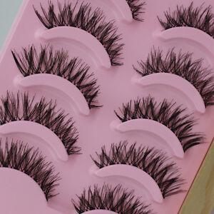 New-5-Pairs-Long-Thick-Cross-Makeup-Beauty-False-Eyelashes-Eye-Lashes-Extension