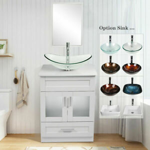 24-034-White-Bathroom-Vanity-Cabinet-W-Mirror-Organizer-Vessel-Sink-Faucet-Comobo