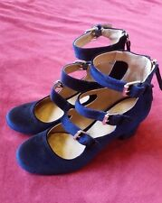 Indigo Rd Ellie Blue Velvet Block Heel Buckle Strap Pumps 6 Round Toe Mary Janes