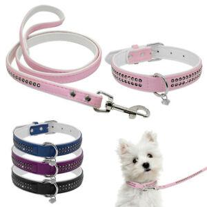 Soft-Crystal-Rhinestone-Pet-Dog-Collars-amp-Leashes-Set-With-Bling-Heart-Pendant