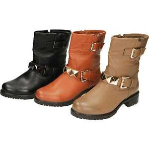 Flat Mid Calf Ankle Biker Boots Zip Up Stud Leather Style Buckle Strap Fur Lined