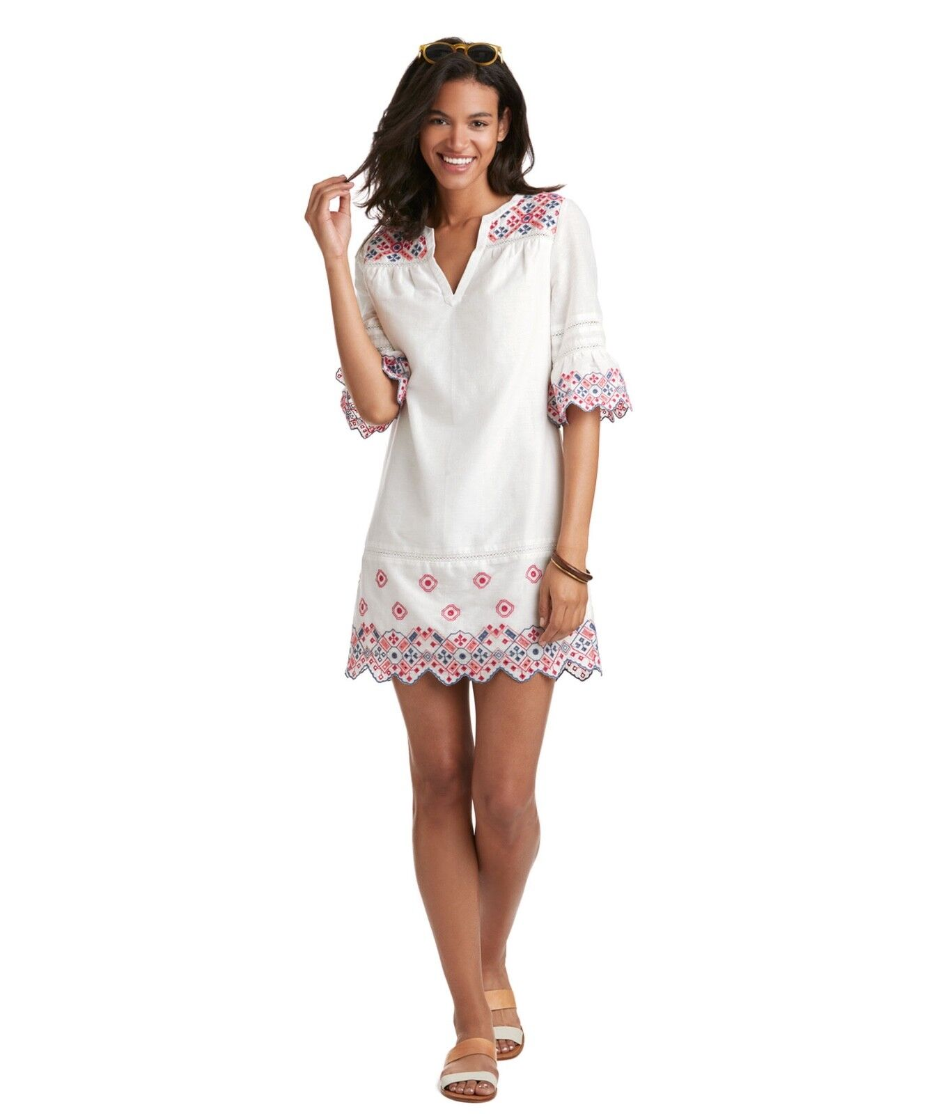 VINEYARD VINES MULTI colorD EMBROIDERED EYELET SHIFT DRESS, NWT  148, 00