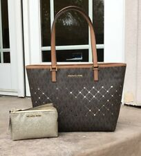 d869ceef10fb Michael Kors Jet Set Violet Small Carryall Tote Brown Logo Perforated  Leather