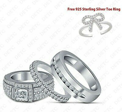 14k White Gold Finish Diamond His And Her Engagement Ring Wedding