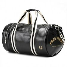Fred Perry Men's Classic PVC Barrel Bag Two Grip Handle Black and Gold