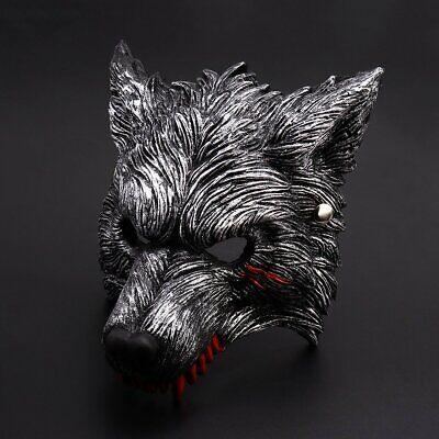 ADULT MASQUERADE WOLF WEREWOLF DOG DEVIL DEMON COSTUME HALF FACE MASK VENETIAN
