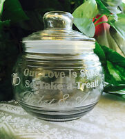 19oz Personalized Candy Dish For Wedding Table, Bridal Shower Gift, Glass Etched
