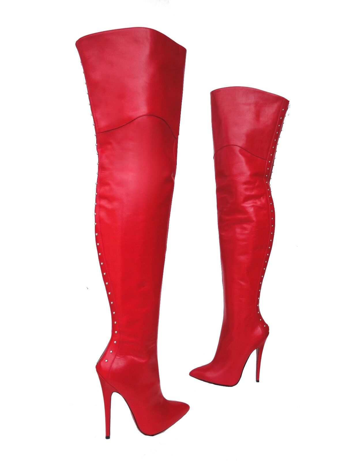 CQ COUTURE OVERKNEE EXTREME HEEL BOOTS STIEFEL BOOTS LEATHER ZIP RED 41
