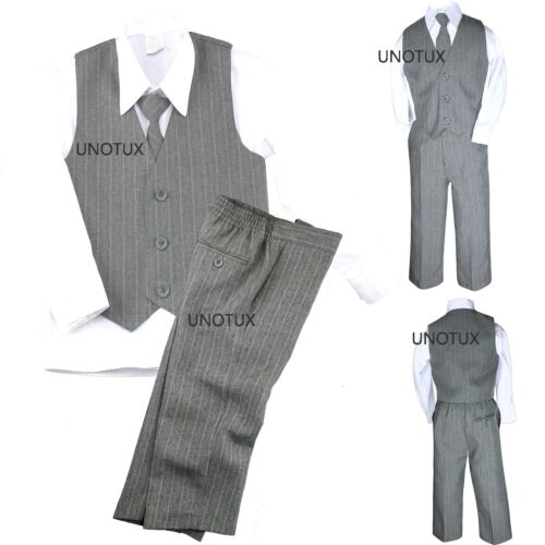 Baby Toddler Boy Vest Set Pinstripe Formal Wedding Tuxedo Gray Grey Suit S-20