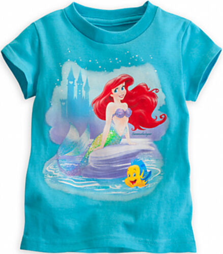 ARIEL AND FLOUNDER TEE FOR GIRLS ~DISNEY STORE~ THE LITTLE MERMAID FREE SHIPPING
