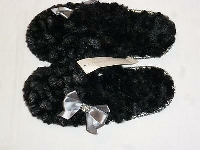 NWT Charter Club Slip On Fuzzy Scuff Slippers Black w/ Gray Bow Size 5-6 / Sm