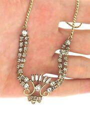 Vintage Signed De Curtis Gold Filled Rhinestone Crystal Necklace Choker 1.5x16.5