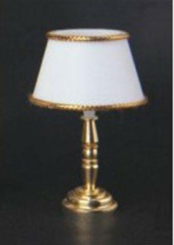1:12 scale Working 12 V Lampe de table avec un abat-jour de couleur blanche tumdee maison de poupées 1024