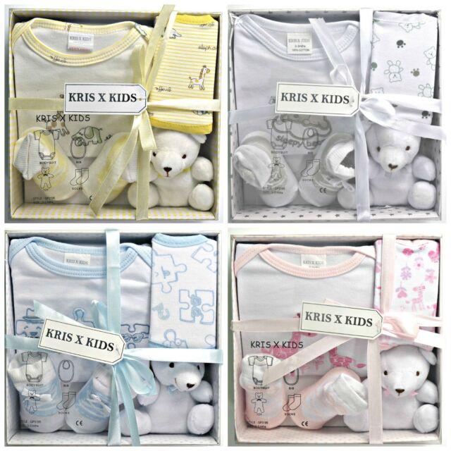 Newborn Baby Gift Set 4 piece 100% Cotton 0-3 Months