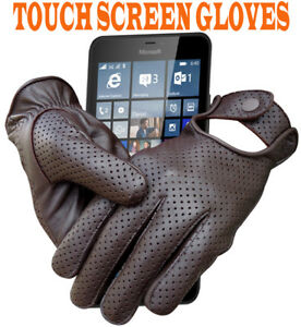 REAL-SHEEP-MESH-LEATHER-DRIVING-POLICE-FASHION-DRESS-MEN-039-S-GLOVES-TOUCH-SCREEN