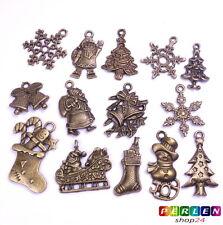 14x Metall Anhänger WEIHNACHTEN Charm Mix VINTAGE Antik Bronze #51