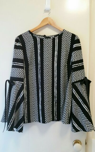 NEW Funky Stripe top with bell sleeve, size 12-14