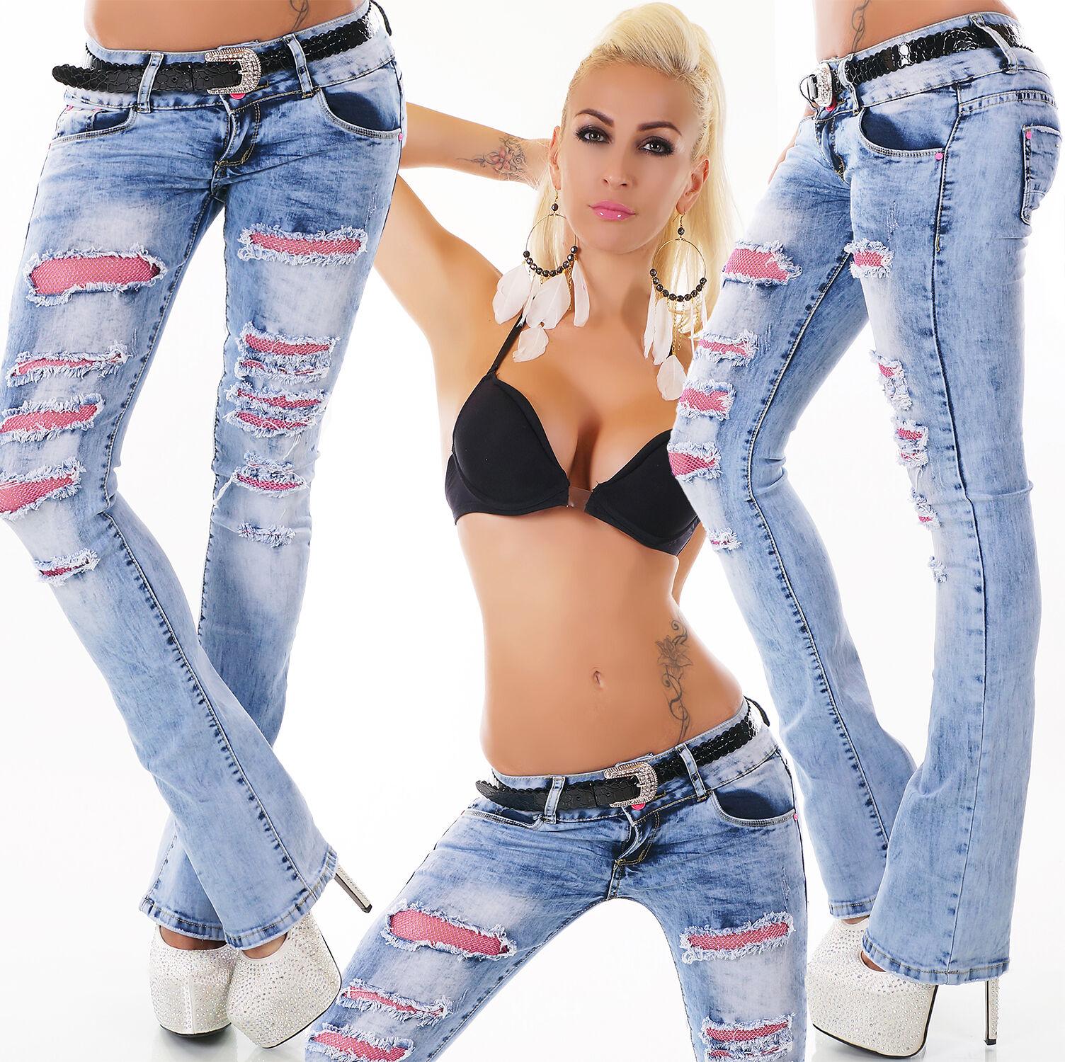 Sexy de women Hipster blue Lavado Vaqueros Boot-Cut con pink red y cinturón