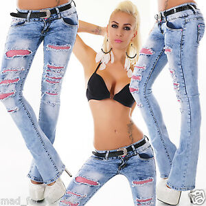 3bf248dfdc3764 SEXY WOMEN S HIPSTER WASHED BLUE BOOTCUT JEANS WITH PINK NET AND ...