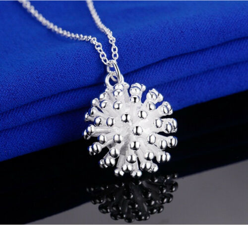 925 Sterling Silver Plating Women Fashion Fireworks Pendant Necklace