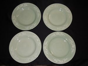 Set-of-4-STONEY-HILL-China-SOFT-COUNTRY-11-1-2-034-Green-Dinner-Plates