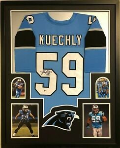 Blue PSA//DNA Luke Kuechly Signed Custom Jersey Autographed w// Photo
