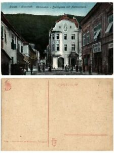 CPA-BRASSo-BRASOV-Cerna-utca-Zwirngasse-mit-Nationalbank-ROMANIA-503689