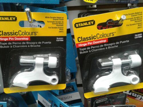 2x new STANLEY TOOLS 76-6331 CD7090 Hinge Pin Door stop White Enamel finish
