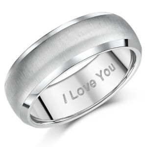 Titanium Ring I Love You Engraved 7mm Unisex Men S Women S Engagement Band Ebay