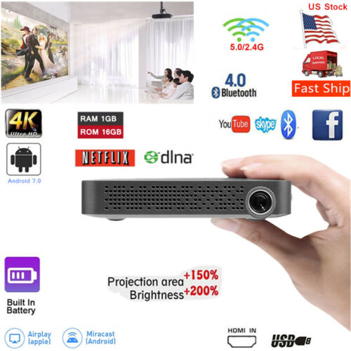 Akaso 5500 Lumens 16GB DLP Android 7.0 4K HD 1080p Projector Wifi BT HDMI In New
