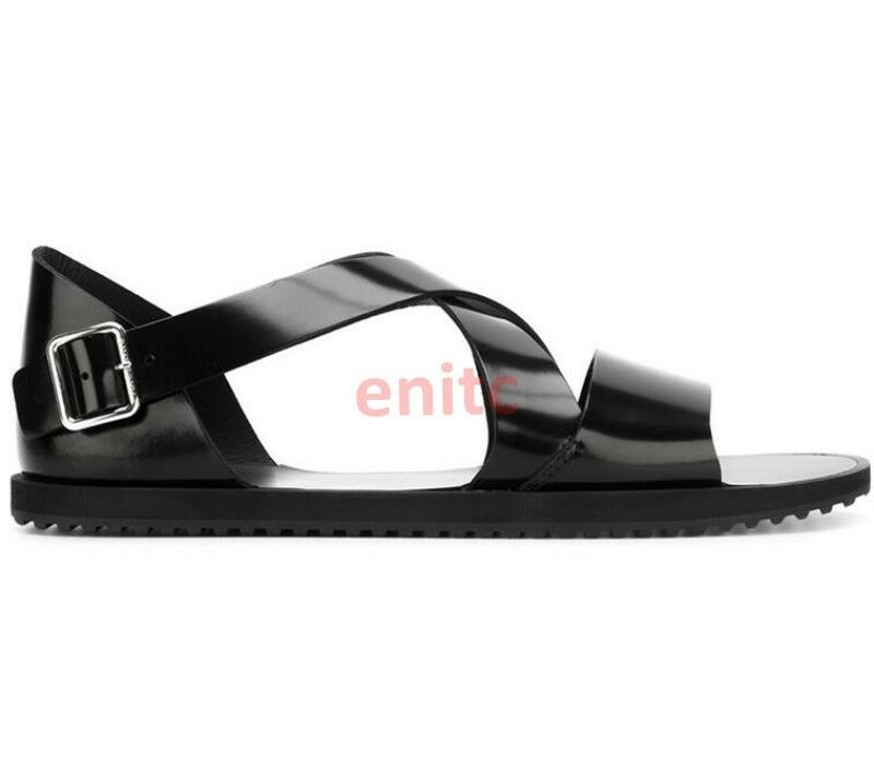 Real Leather Buckle Open Toe Roman Roman Roman Outdoor Beach Fashion Mens Sandal shoes Size 852a45