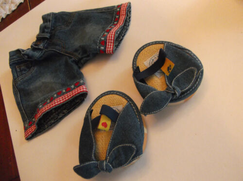 BUILD A BEAR ORIGINAL BUILD A BEAR JEANS WITH RED TRIM & JEAN SANDALS