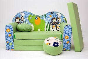 image is loading kids sofa bed 3 in 1 futon childs  kids sofa bed 3 in 1 futon childs furniture   free pouffe      rh   ebay co uk