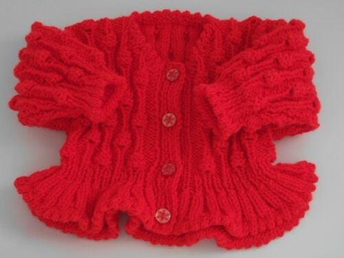 Baby Cardigan 3-6 months Pink Lavender Red Peach Girl Hand Knitted new
