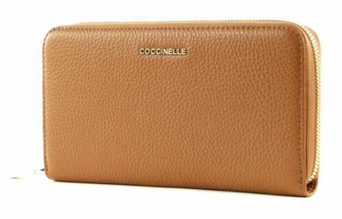 COCCINELLE Metallic Soft Zip Around Wallet L Geldbörse Caramel Braun Neu