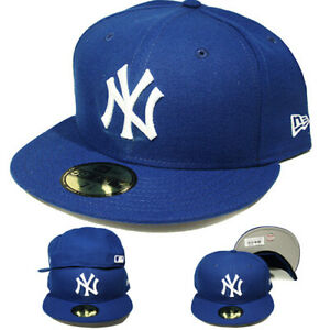 New-Era-New-York-Yankees-Blue-5950-Fitted-Hat-Classic-MLB-League-Basic-Color-Cap
