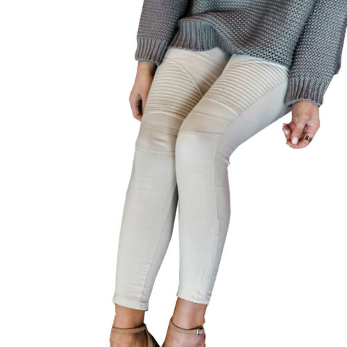 Damen Pencil Jeans Stretch Lässige Enge Hose Hohe Taillenhose Bottoms Leggings
