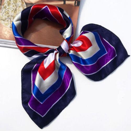 Women Ladies Vintage Silk Feel Satin Square Scarf Head Neck Hair Tie Band