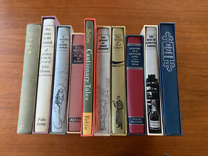 10-GREAT-FOLIO-SOCIETY-TITLES-JOB-LOT-Slipcases-H-Covers-In-Varying-Condition