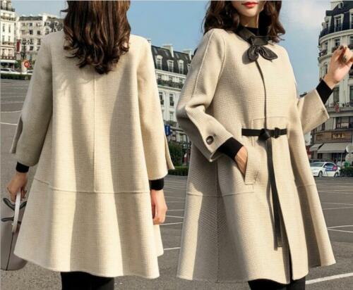 New Overcoat Cape Blend Fashion Slim Lana Corea abito cintura Casual Womens Ol rTqrwYZgp