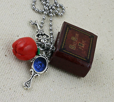 Vintage Art Deco style once upon a time key heart owl fairy charm necklace