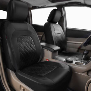 Universal-2-Front-Car-Seat-Covers-Protector-PU-Leather-Black-Durable-Anti-dirty