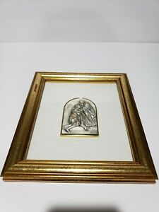 Sterling-Silver-925-Italy-Repose-Relief-Prodigal-So-Portrait-Wood-Frame-Wall-Art