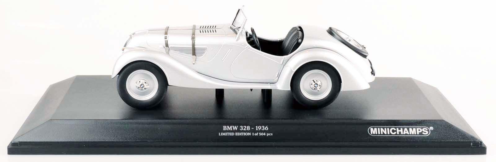 MINICHAMPS 155025030 BMW 328 - 1936 argent limitée à 504 pièce 1 18 Nouveau Neuf dans sa boîte