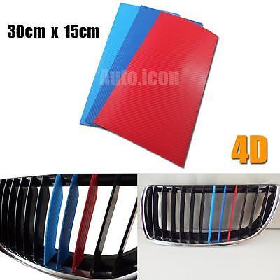 1pc 4D Carbon Fiber M-Colored Stripe Decal Sticker Fit BMW M3 M5 M6 E46 E39 E60