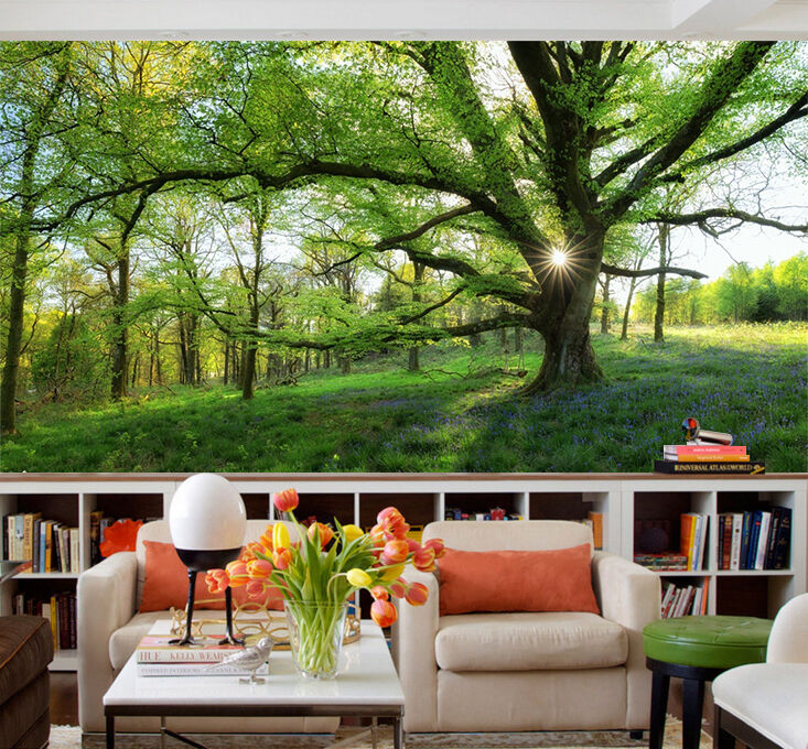 3D sun lawn Branches Wall Paper Print Decal Wall Deco Indoor wall Mural