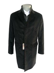 Cappotto-uomo-NAVIGARE-nero-in-velluto-a-coste-taglia-50-con-gilet-trapuntato